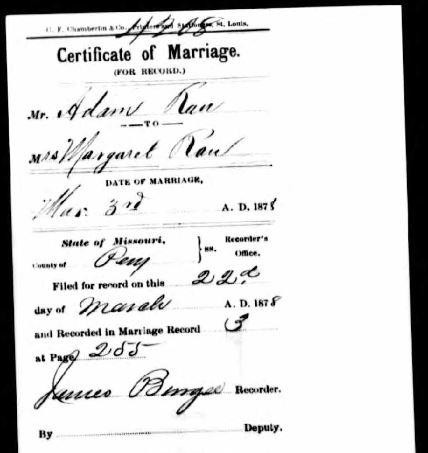 Adam Rauh and Lang marriage certificate
