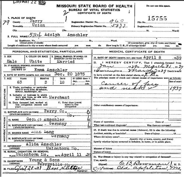 Adolph Amschler death certificate