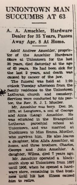 Adolph Amschler obituary