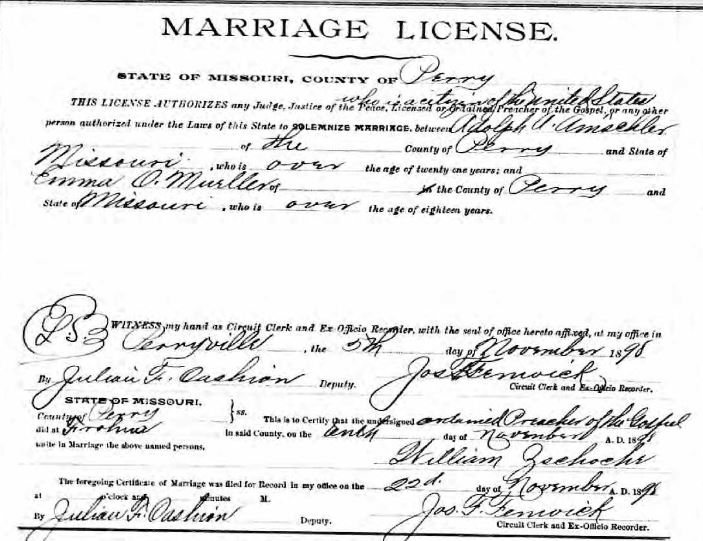 Amschler Mueller marriage license