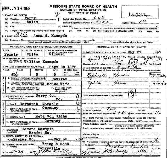 Anna Kaempfe death certificate