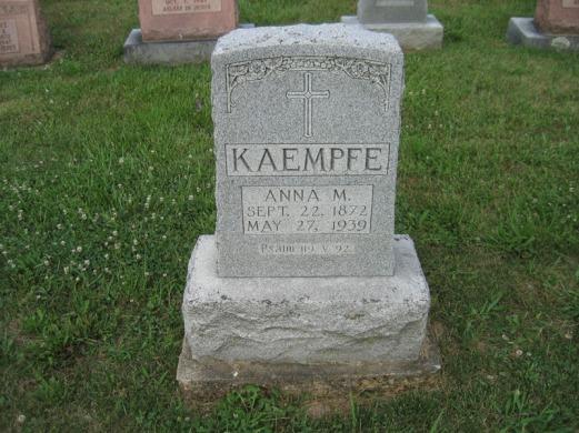 Anna Kaempfe gravestone Salem