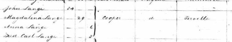 Anna Lang passenger list Clementine 1840
