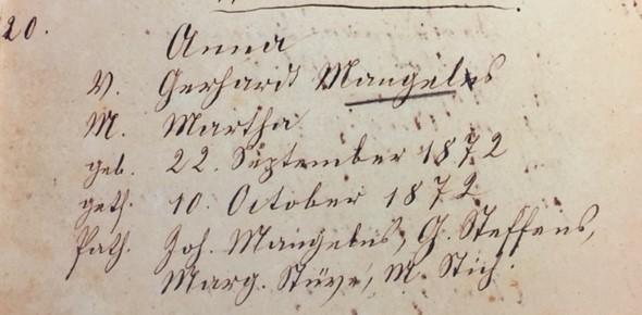 Anna Mangels baptism record Trinity