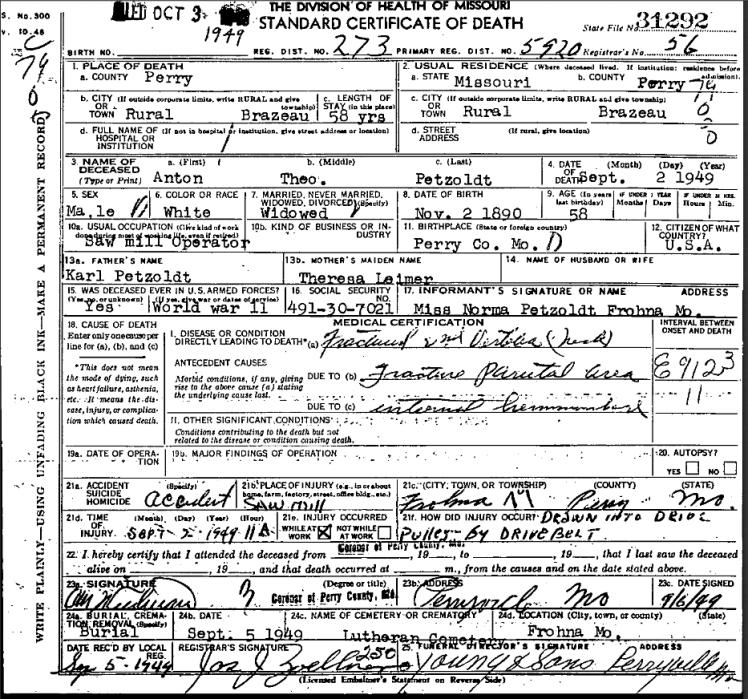 Anton Petzoldt death certificate