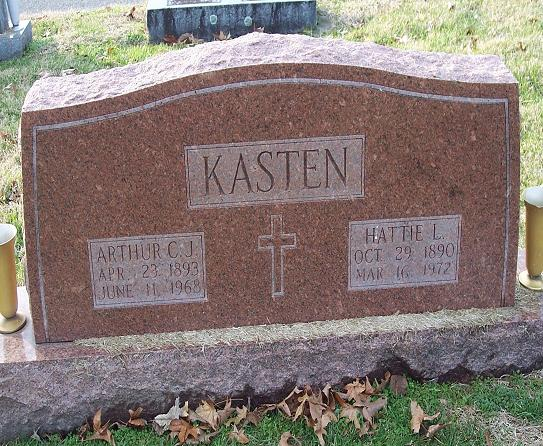 Arthur and Hattie Kasten gravestone Jackson MO