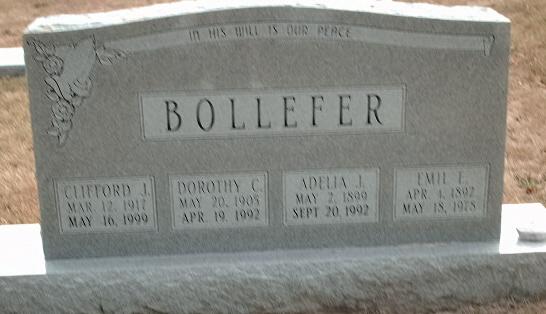 Bollefer gravestone St. John's Cemetery Arnold MO