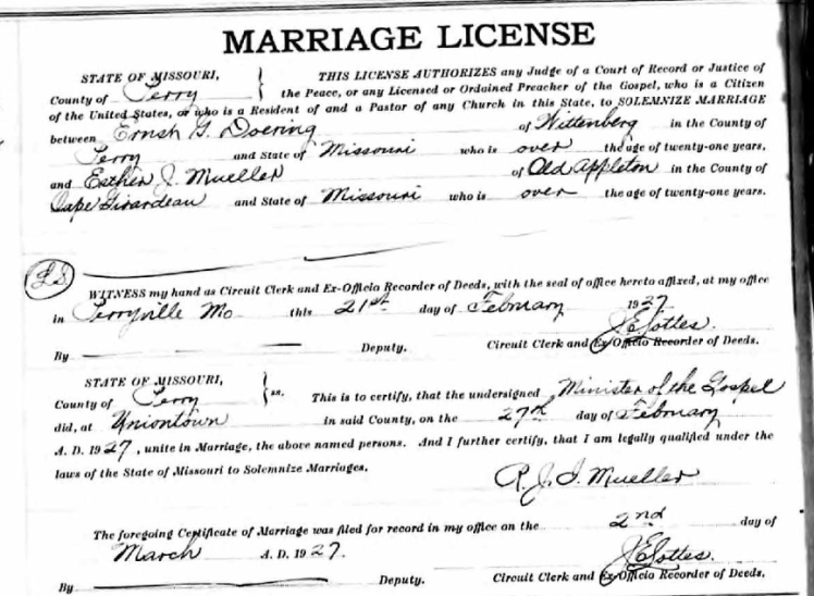 Doering Mueller marriage license