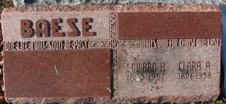 Edward and Clara Boese gravestone Our Redeemer Afton