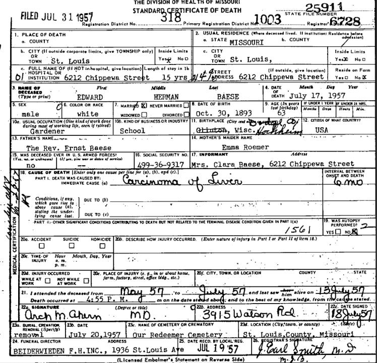 Edward Baese death certificate