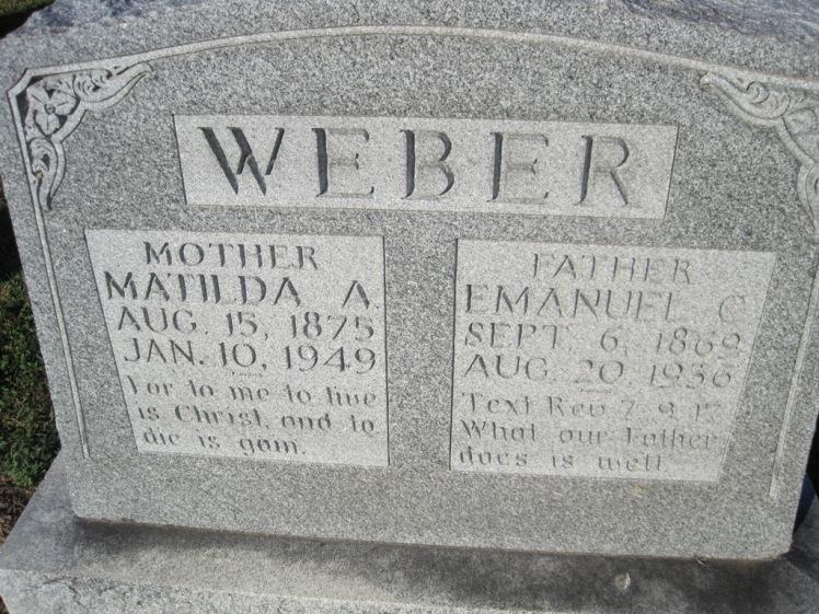 Emanuel and Mathilda Weber gravestone Immanuel