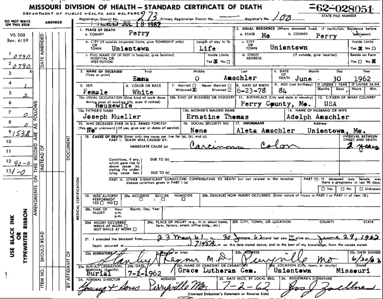 Emma Amschler death certificate