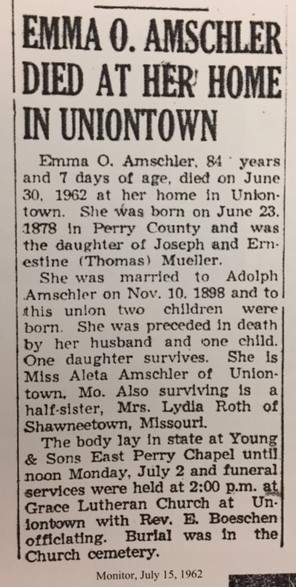 Emma Amschler obituary