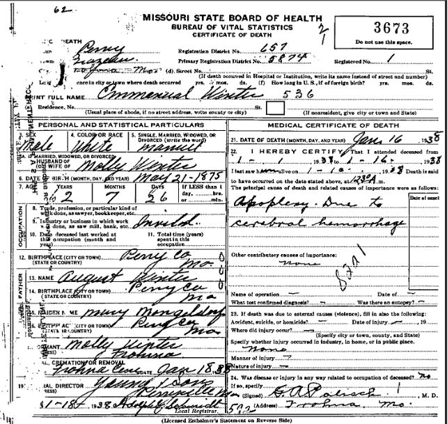 Emmanuel Winter death certificate