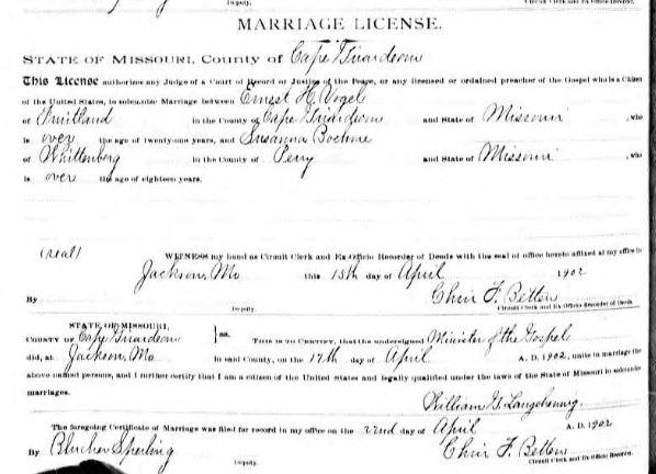 Ernst Vogel Susanne Boehme marriager license