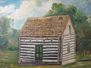 G H Hilmer Log Cabin College painting