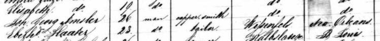 George Amschler passenger list 1850