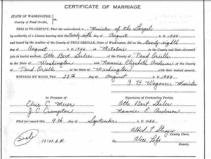 Gerler Anderson marriage license Washington