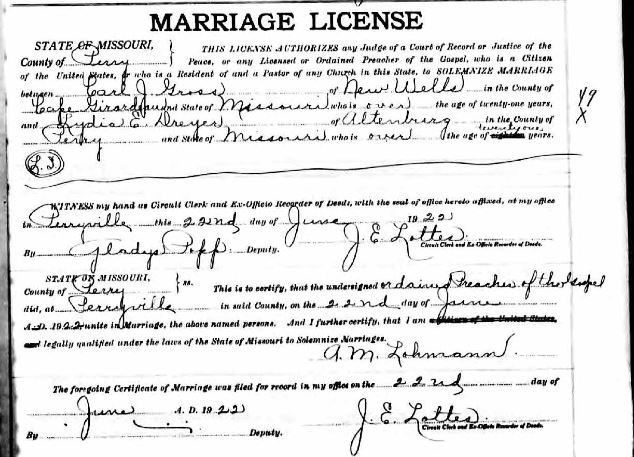 Gross Dreyer marriage license