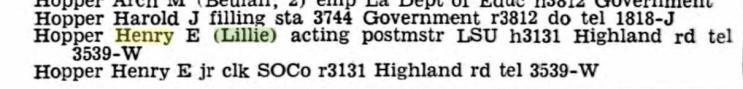 Henry Hopper 1939 city directory Baton Rouge LA