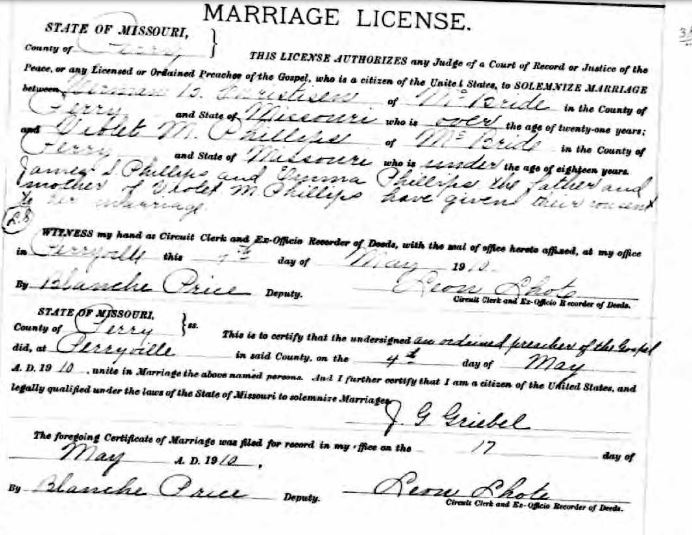 Herman Christisen Phillips marriage license