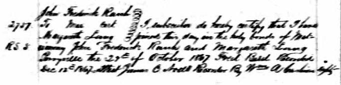 John F Rauh Lang marriage record