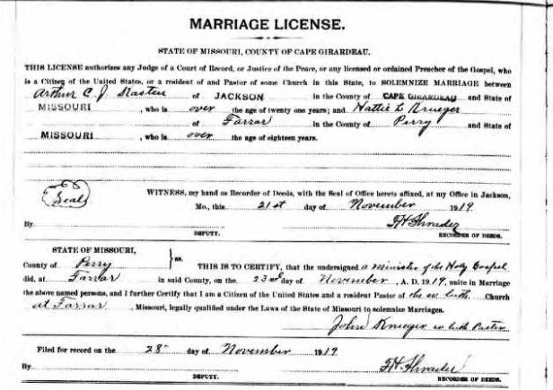 Kasten Krueger marriage license