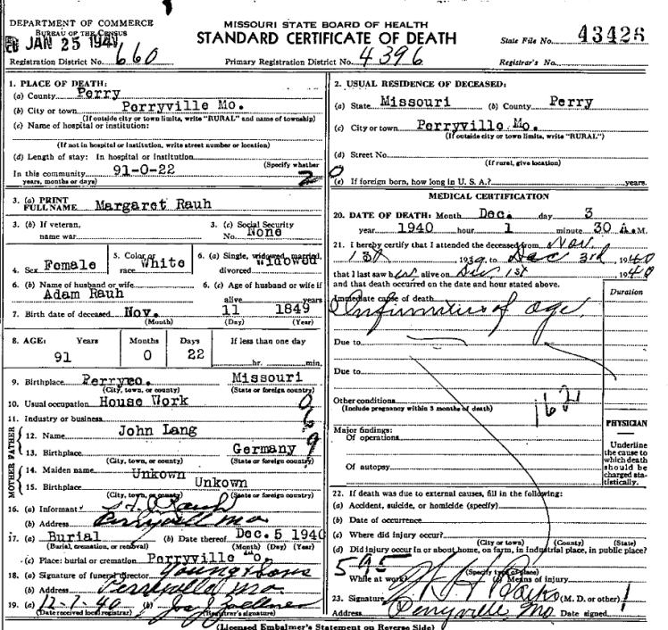 Margaret Rauh death certificate