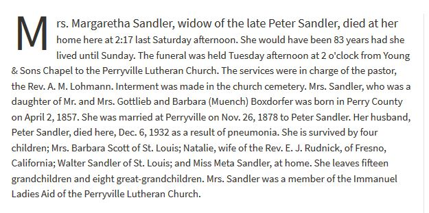 Margaretha Sandler obituary