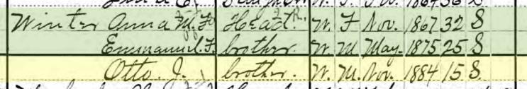 Otto Winter 1900 census Frohna