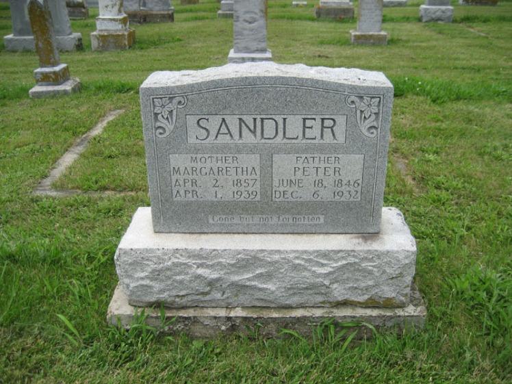 Peter and Margaretha Sandler gravestone Immanuel Perryville