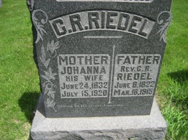 Rev. C.R. Riedel gravestone Plum Creek Iowa
