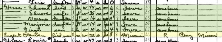 Ruben Engert 1940 census Bremer IA