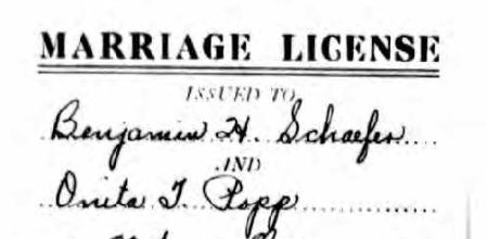 Schaefer Popp marriage record