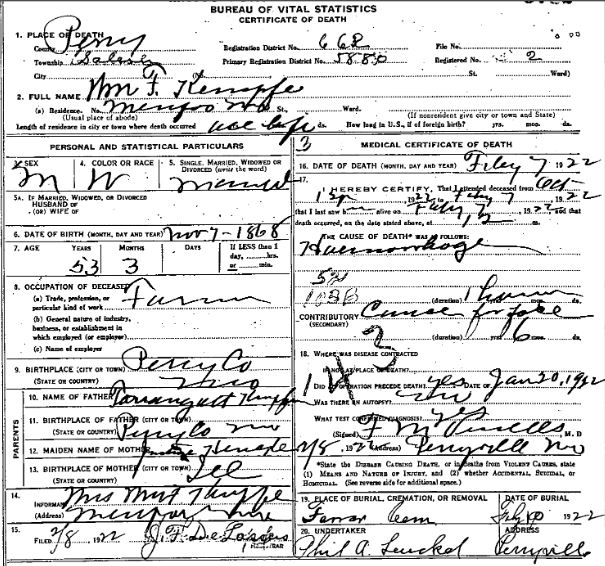 William Kaempfe death certificate