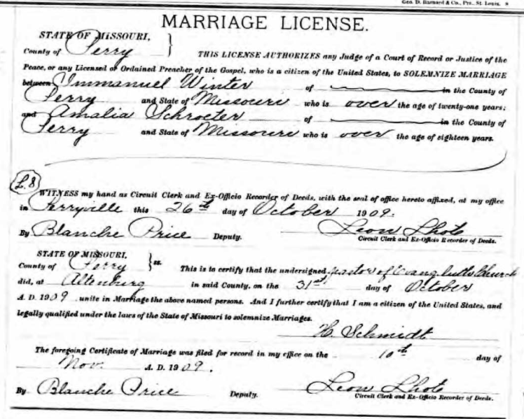 Winter Schroeder marriage license