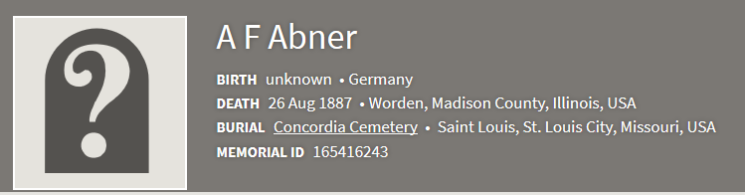 August Friedrich Ahner burial record Concordia St. Louis findagrave