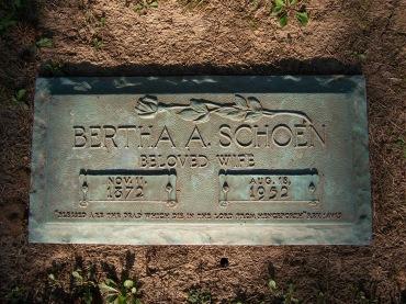 Bertha Schoen gravestone Cape Girardeau