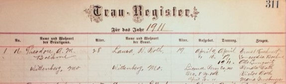 Boehme Roth marriage record Wittenberg