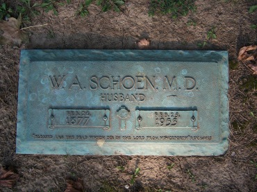Dr. W.A. Schoen gravestone Cape Girardeau