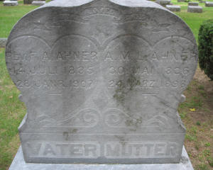Friedrich and Louisa Ahner gravestone Saginaw MI