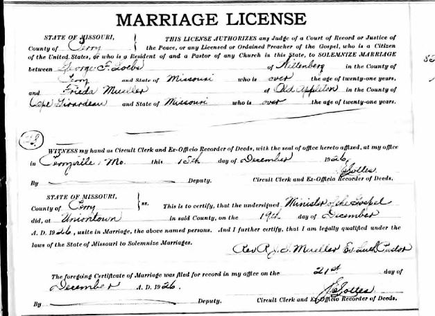 George Loebs Frieda Mueller marriage license