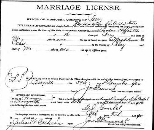 Hoffstetter Ochs marriage license