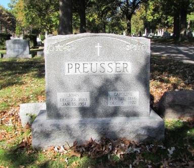 John and Carolina Preusser gravestone