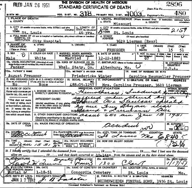 John Preusser death certificate