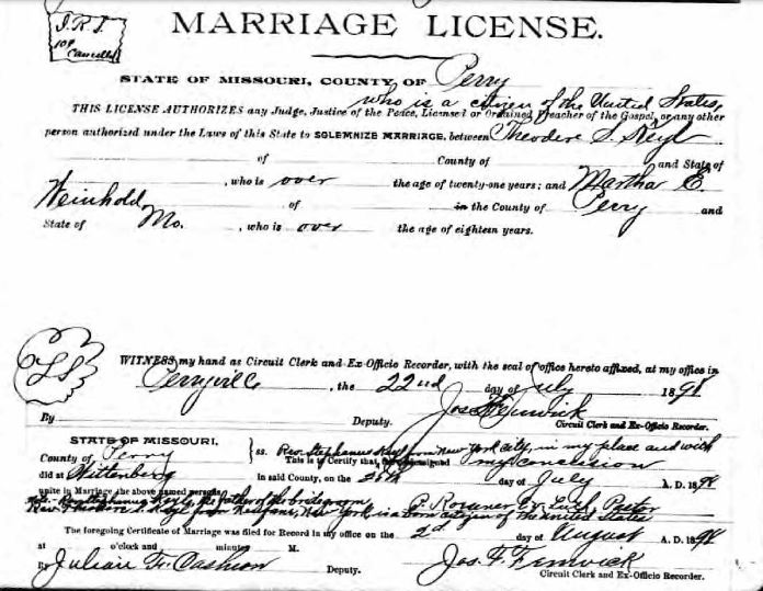 Keyl Weinhold marriage license