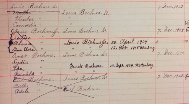 Louis Boehme family St. Paul's Wittenberg records