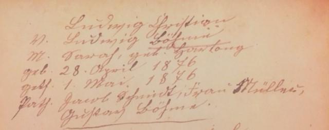 Ludwig Boehme baptism record Trinity