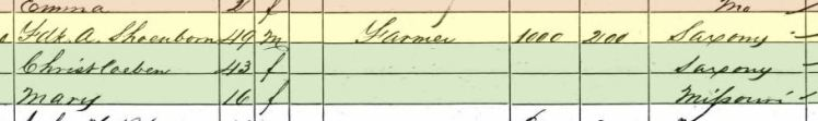 Marie Schoenborn 1860 census Frohna