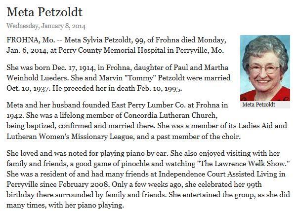 Meta Petzoldt obituary